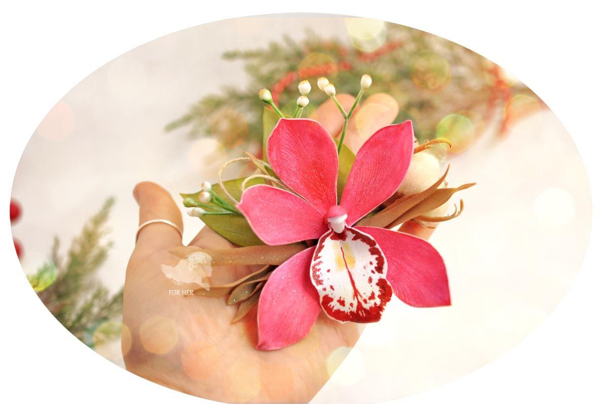 Red Flower Orchid Flower Barrette Hair Valentines Hair Clip