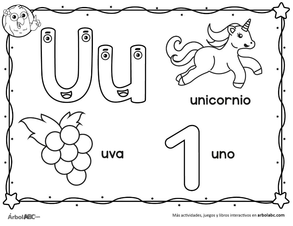 Letra U Para Colorear Arbol Abc En 2020 Aprender Las Letras Letras Actividades Para Segundo Grado