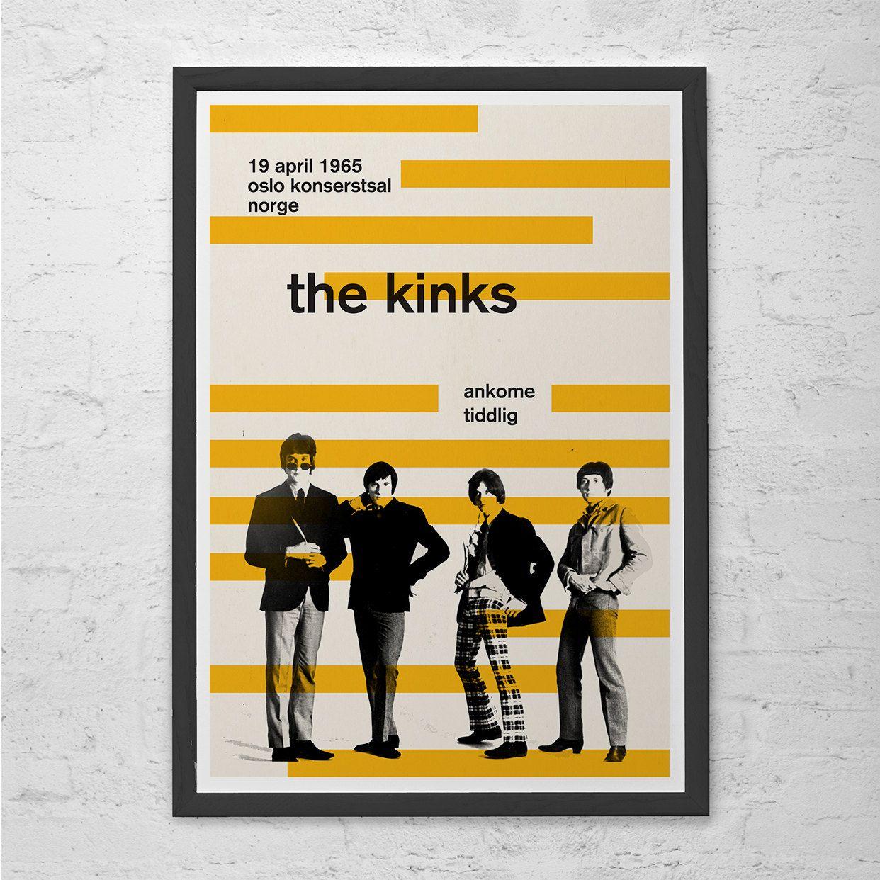 THE KINKS POSTER Retro Minimalist Music Poster Print Vintage Music ...