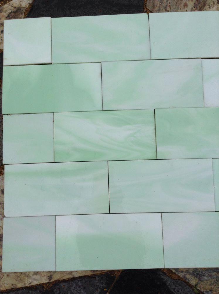 Antique Vintage Vitrolite Glass Tile Jadeite Green Mantle