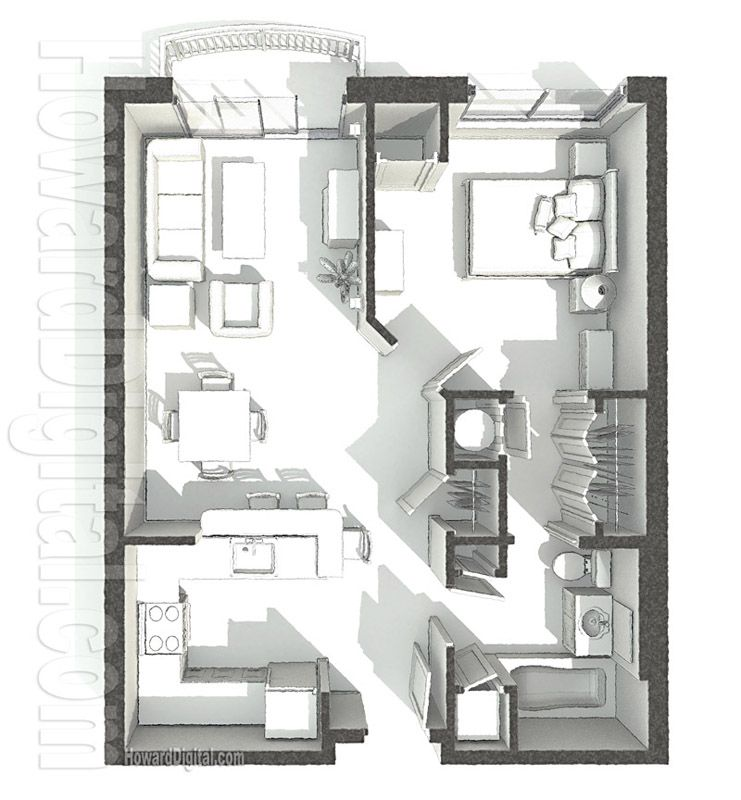 Home rendering pci dorm floor plan 1 home series for Rendered floor plan