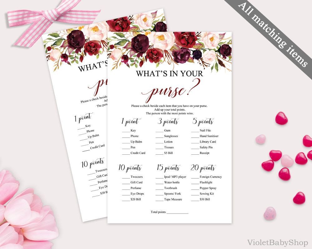 Marsala What is in Your Purse Game Template. Printable Bab yShower ...