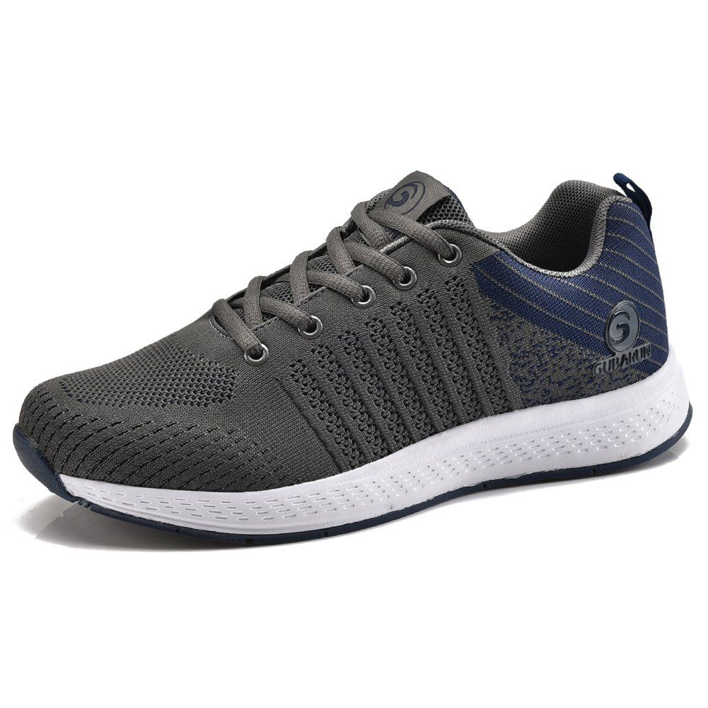 Mesh Running shoes Men Breathable Lightweight Casual Lace up Sneakers Sport  Athletic Walking Tennis Shoes-Dark Grey/Dark Blue. Fly knit upper-Breathable  and ...