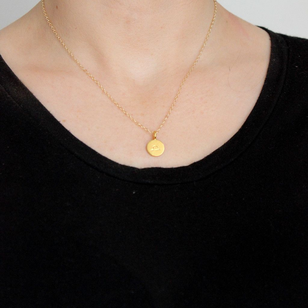 Zodiac sign necklace zodiac gold filled chain and gold pendant