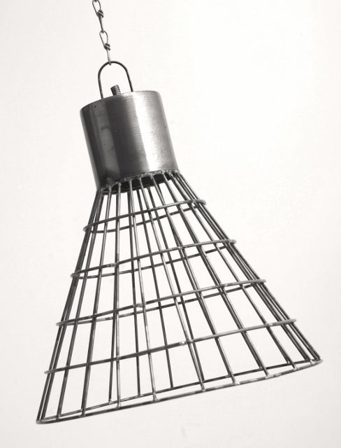 Industrial Silver Metal Wire Basket Ceiling Light Shade Rose Chain ...
