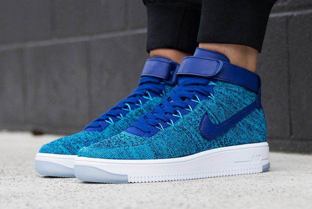 Id Ug25 Nike Air Force 1 Flyknit High Women Trainers Turquoise