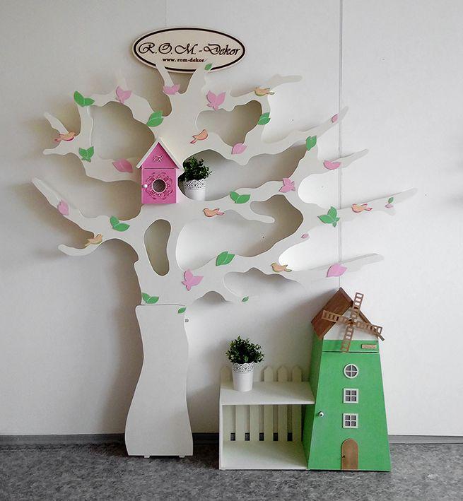 Дерево-стеллаж с асимметричной кроной и подсветкой и ...