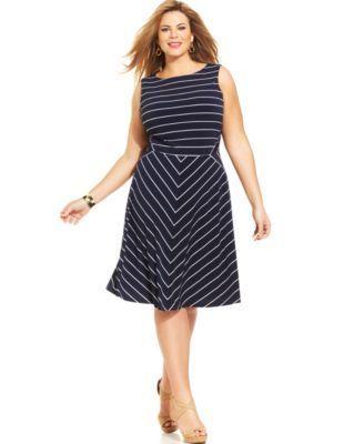 Charter Club Plus Size Striped A-Line Dress   macys.com ...