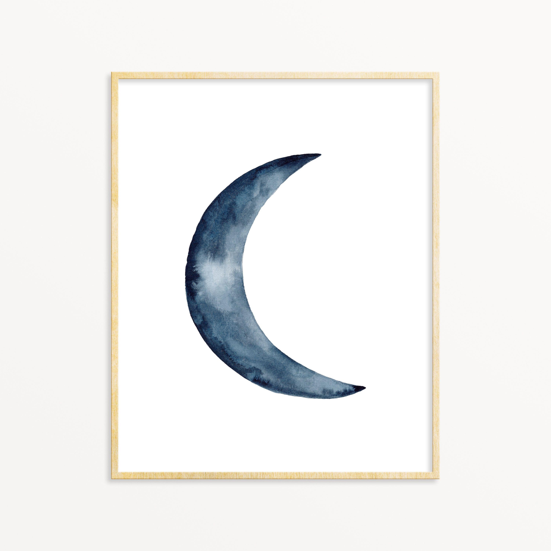 Moon Phase Art Print Indigo Waning Moon Crescent Moon Art Etsy Crescent Moon Art Moon Art Print Moon Art