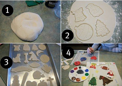 homemade clay ornaments, made with flour, salt and water!