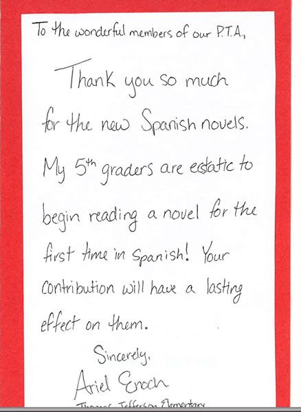 Thank You Notes Spanish Teacher Cards Note  Home Design Idea