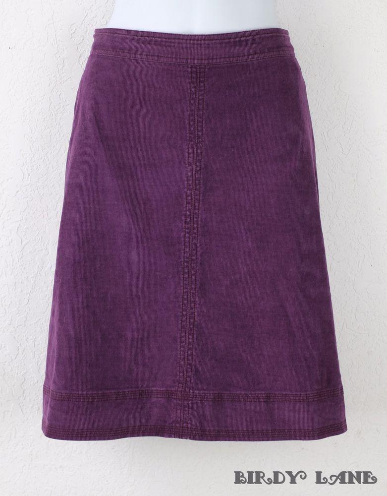 Boden Purple Stretch Corduroy Skirt Slight A-Line Just Above Knee  #Boden #CorduroySkirt #BritishStyle #BirdyLane