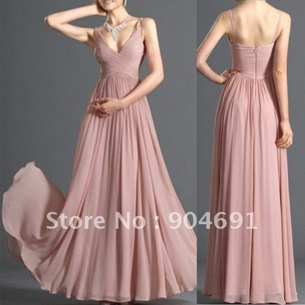 New Pink Blush Bridal Evening Dress V-neck Party Dress Bridesmaid ...