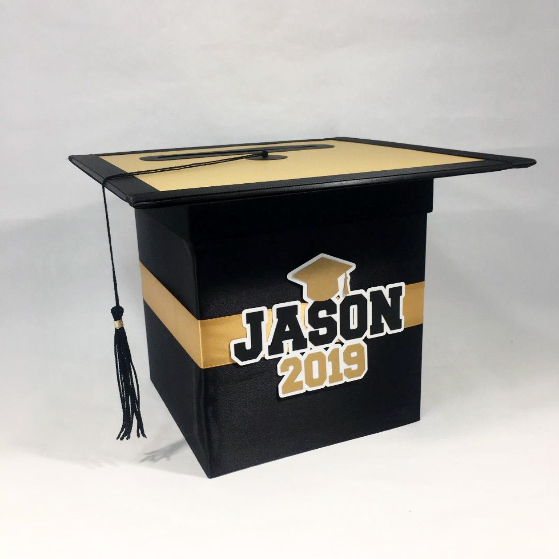 Graduation Party Card Box Black Gold Graduation Party Cards Graduation Party Card Box Party Card Box