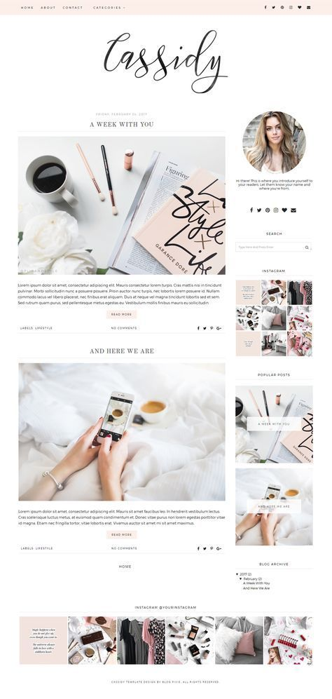 Blogger Theme - Premade Blog Templates - Blog Theme - Responsive Blogger Template - Blogspot Themes - Blog Design - Feminine - Blog Pixie