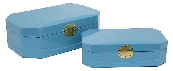 Asst Of 2 Royal Wood Box Sky Blue The Decor Shop One Kings Lane Shop Decoration Wood Boxes Box