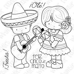 Happy Cinco De Mayo Digi Stamp By Whimsie Doodles Digital Stamps Doodles Mexican Embroidery Designs
