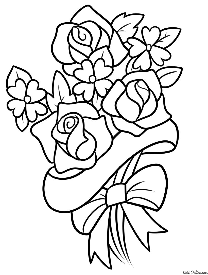 Раскраска Букет цветов для мамы | Букет цветов, Цветы и ...
