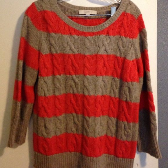 Stripped Sweater Loft sweater- very comfortable, good condition. It's a coral color stripe LOFT Sweaters Crew & Scoop Necks