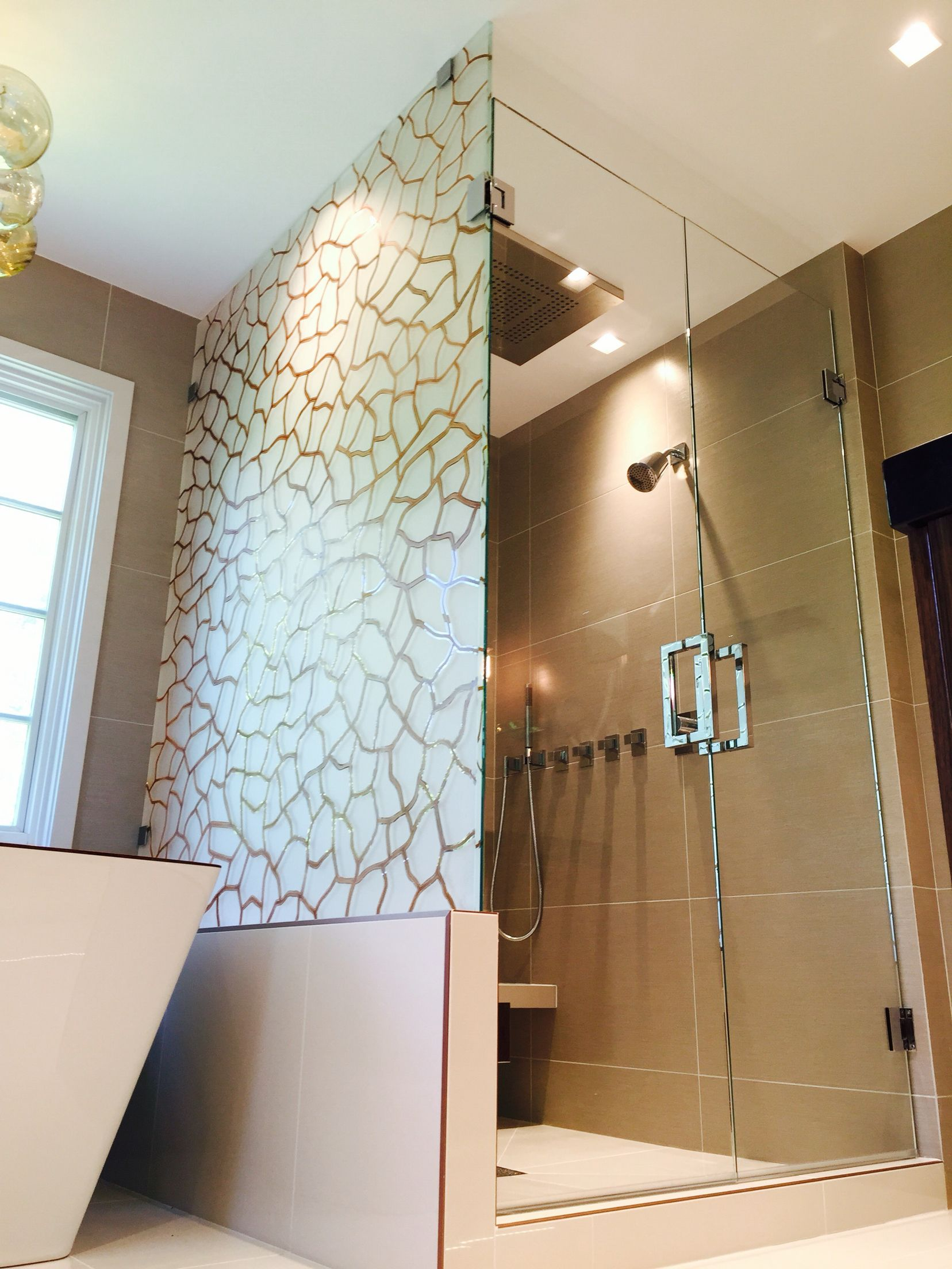 Custom Glass Shower Designs In Chicago By Ultimate Art Inc Etched