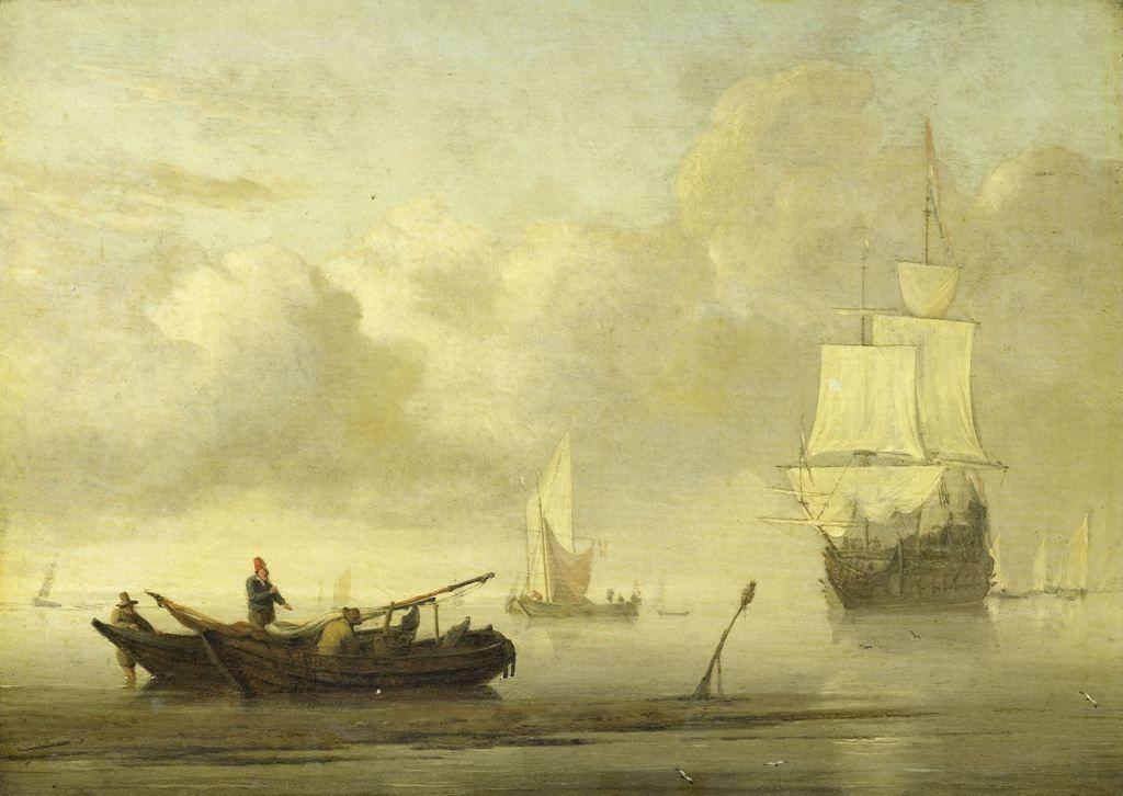 Willem van de Velde de Jonge - Schepen voor de kust tijdens windstilte