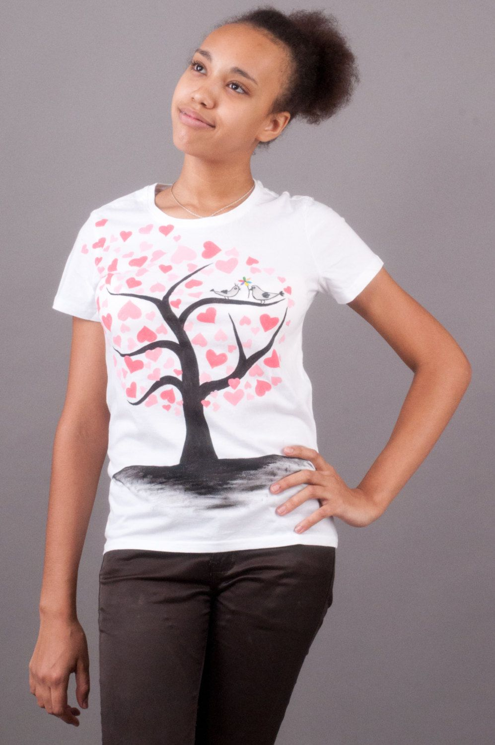 Love tree t-shirt hand painted for women love story birds hearts t shirt t shirt on Valentine's Day. Romantic t shirt (29.00 USD) by OkrasaStyle