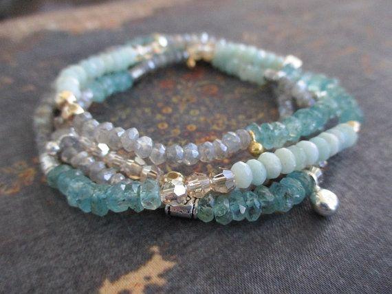 Gemstone wrap bracelet necklace CALM pale blue by slashKnots