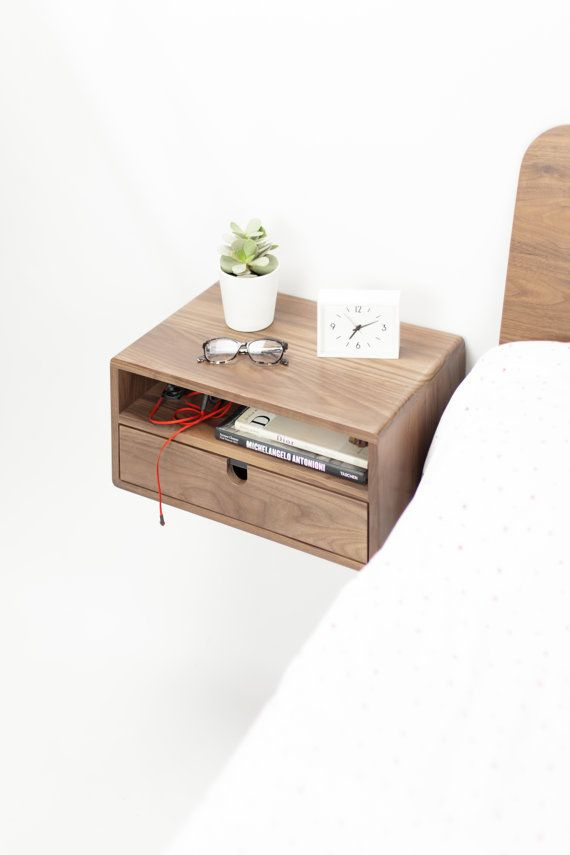 Best Walnut Floating Nightstand Bedside Table Drawer In Solid 400 x 300