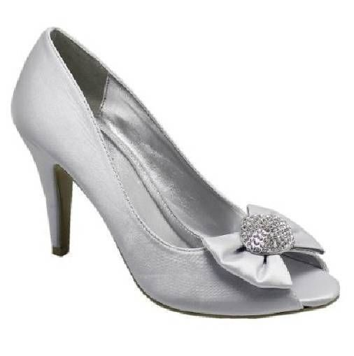 LADIES WOMENS SILVER SATIN EVENING WEDDING PEEP TOE PARTY HIGH HEEL SHOES