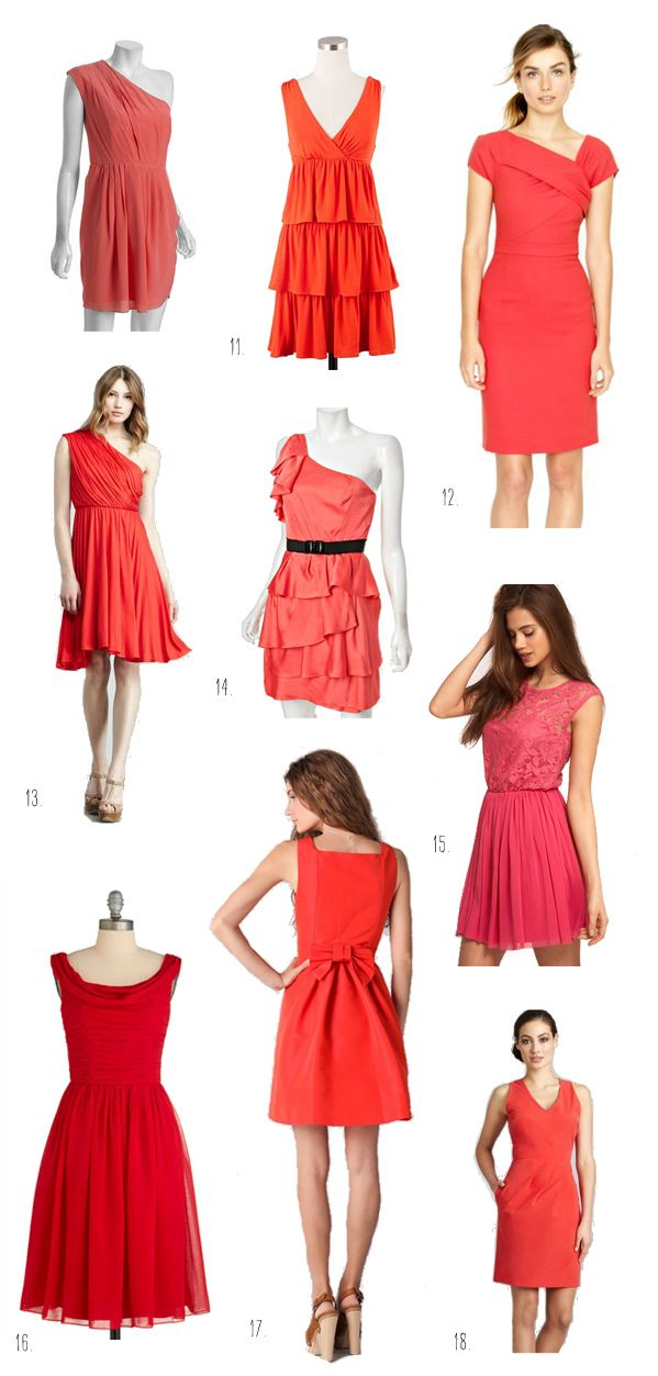 coral + watermelon + cherry bridesmaid dresses