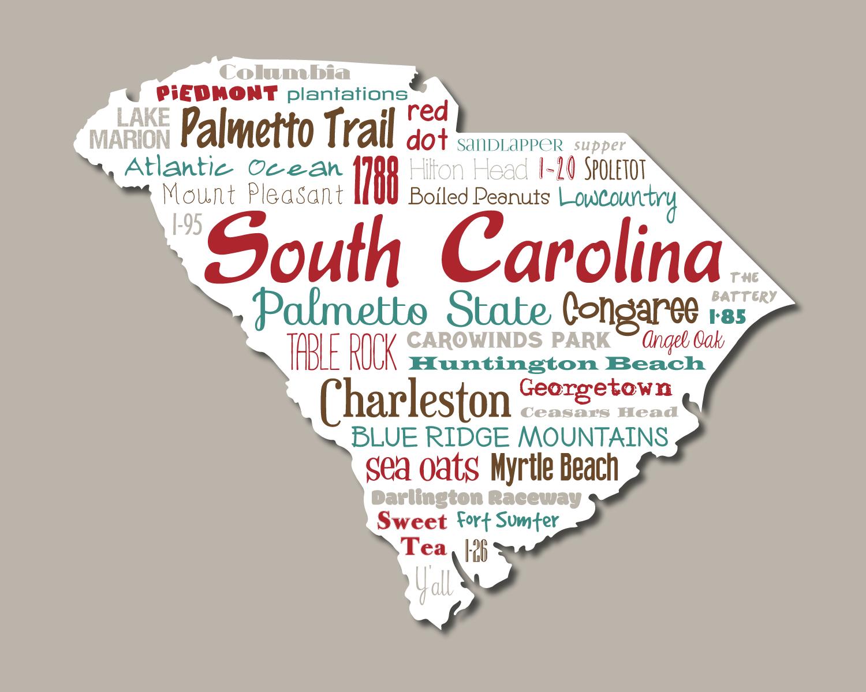 Original Artwork Using Words To Describe State Of South Carolina Show Off Your Passion For The Palmetto State Palmetto State South Carolina State Outline