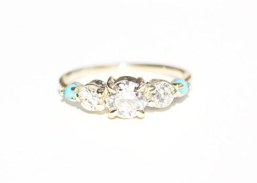 Custom MOCIUN Three Diamond Engagement Ring in 14K yellow gold with  turquoise accent stones.