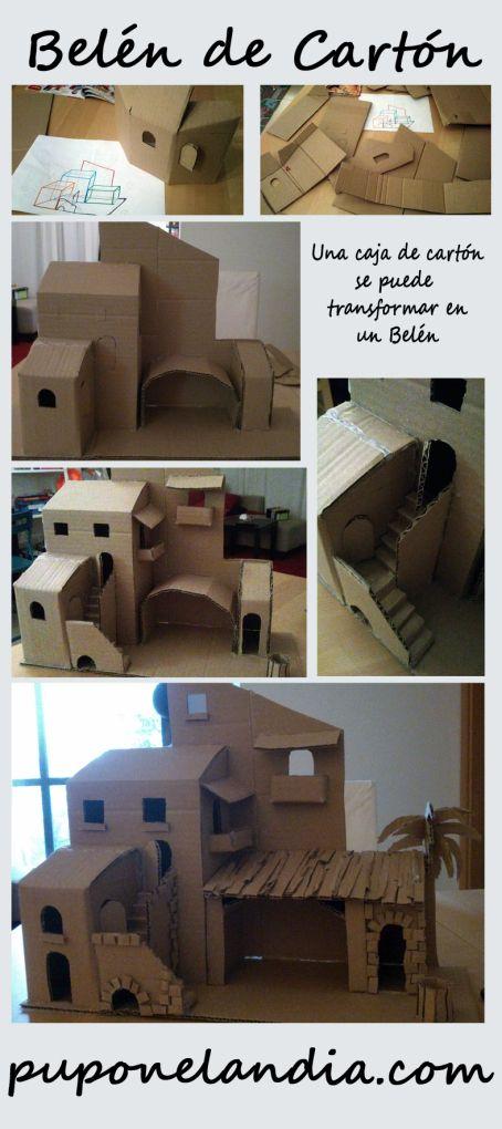 Belen Hecho Con Carton Belenes De Navidad Belenes Navidenos Casas Para Nacimientos