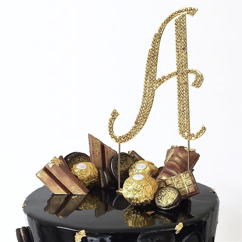 4 gold rhinestone letter cake toppers letter cake