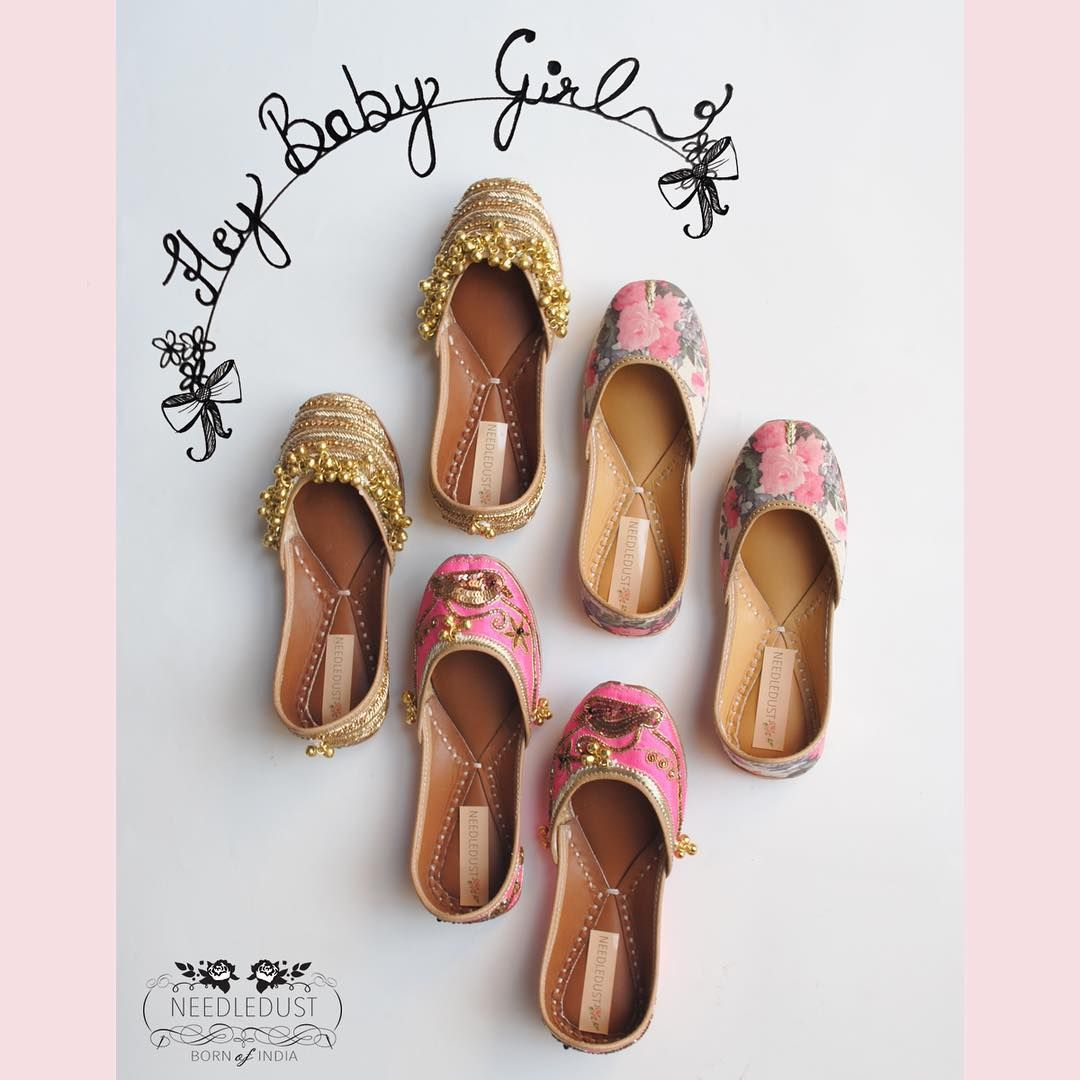 """""""NEEDLEDUST's Baby juttis  because we understand that your lil fashionista needs equal importance  get your matching sets and baby juttis now on…"""""""
