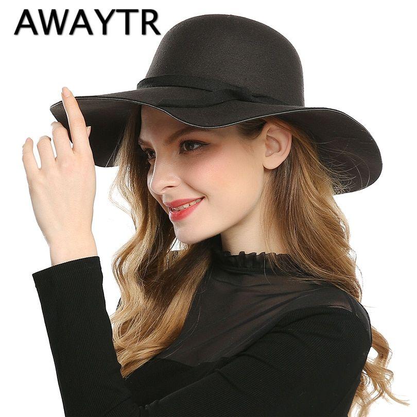 e5b523fac33bd0 AWAYTR 2017 Spring Autumn Wide Brim Sun Hat Women Fedora Hat Floppy Beach  Bowknot Cap Chapeau