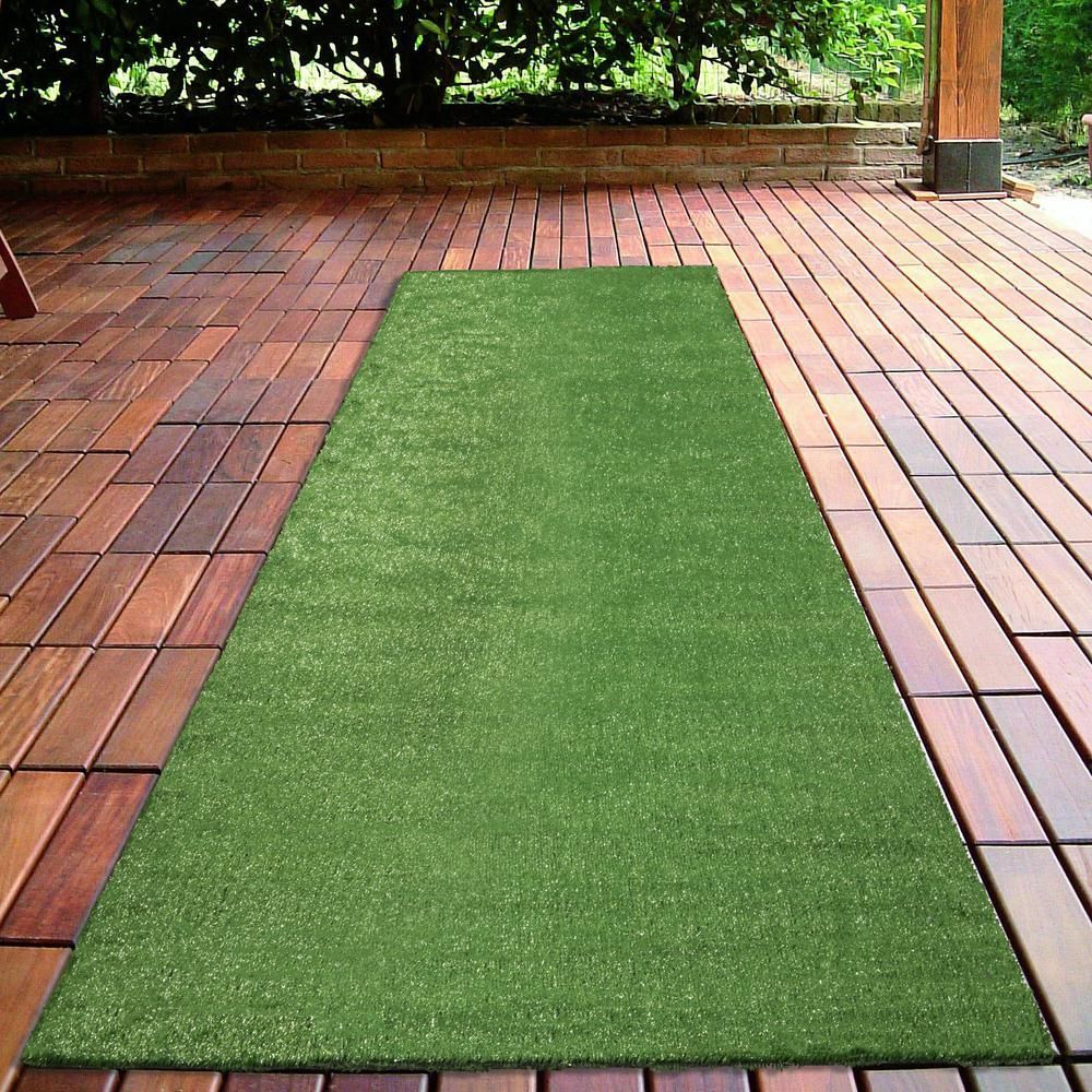 Grassland Collection 2 Ft 7 In X 8 Ft Indoor Outdoor Artificial Grass Synthetic Lawn Turf