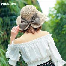 vachiam Women s Sun Hat Big Bow Wide Brim Floppy Summer Hats For Women  Beach Panama Straw e6a8d9f4e121