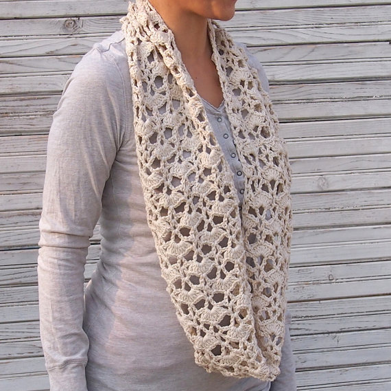 Infinity scarf crochet pattern woman circle scarf lace loop scarf ...