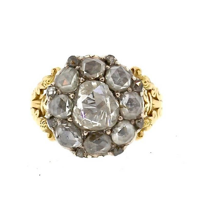 Rare Antique Georgian Rosecut Diamond Gold Ring | From a unique collection of vintage cluster rings at https://www.1stdibs.com/jewelry/rings/cluster-rings/
