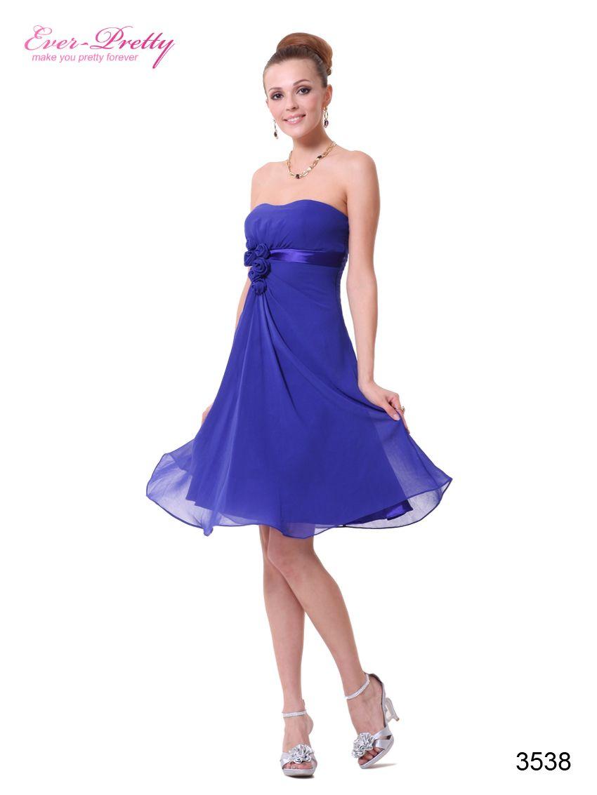 Sapphire blue flowers strapless chiffon padded coktail dress