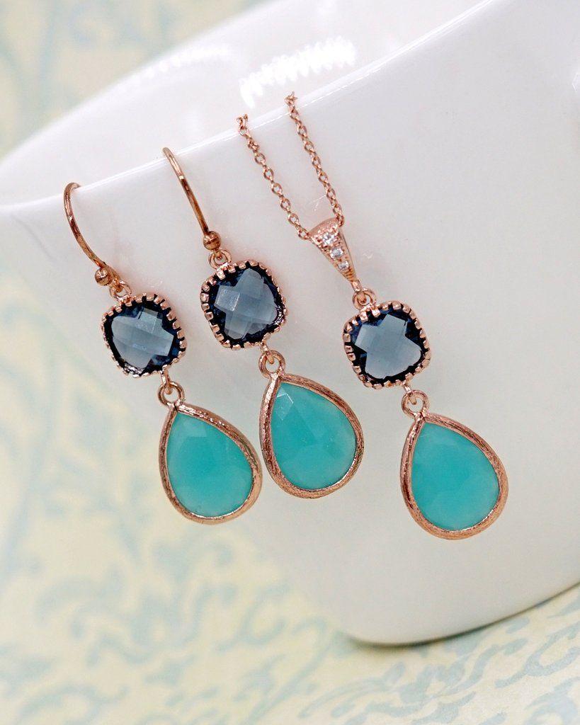 Mint Montana Blue Rose Gold Jewelry Set Something blue brides