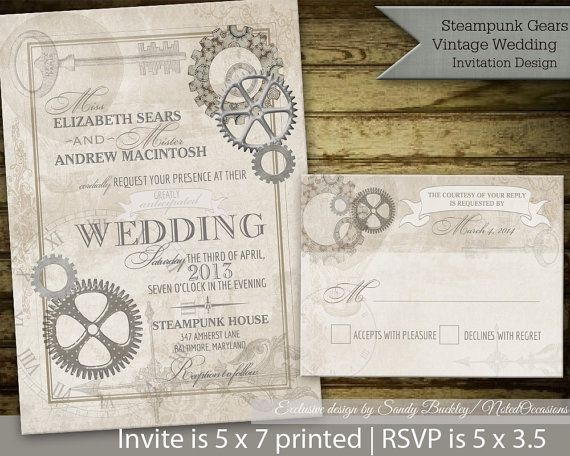 Steampunk Vintage Wedding Invitation Printable Vintage Gears Etsy Steampunk Wedding Invitation Wedding Invitations Diy Vintage Chic Wedding Invitations