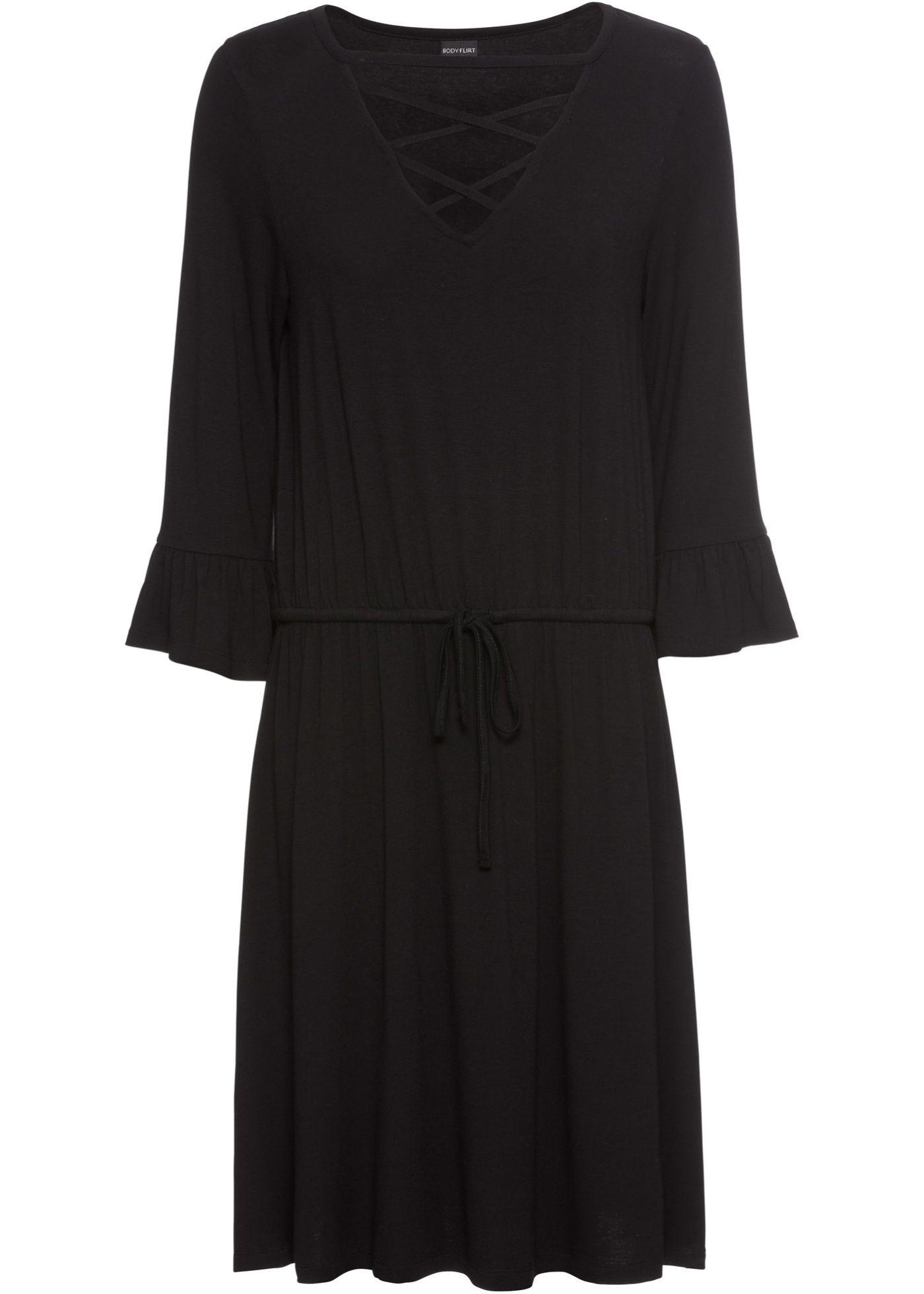 Jerseykleid  Kleider, Jerseykleid schwarz und Flirt