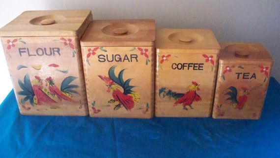 Vintage Red Rooster Wooden Canister Set Flour, Sugar, Coffee And Tea  Country Kitchen Nippon Koatsu Japan