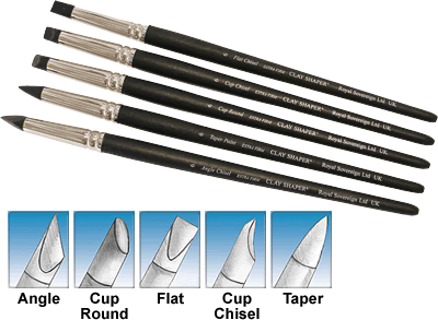 Clay Shapers-The clay shaper has an extra firm black silicone tip to enable accurate sculpting with a variety of materials. They offer the same precise control when working with clay, plasticene, wax, heavy body paints, and adhesives. They are available in five different shapes; angle chisel, round cup, flat chisel, cup chisel, and taper point. Available individually or in sets of five.