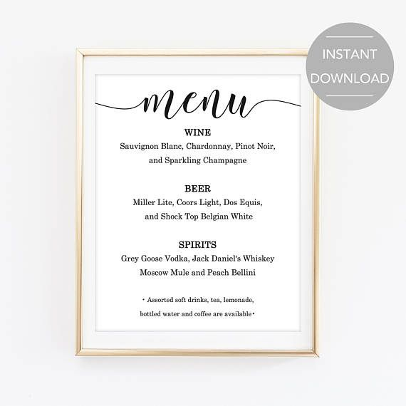 Bar Menu Sign Printable Bar Menu Sign Wedding Bar Menu Sign Bar