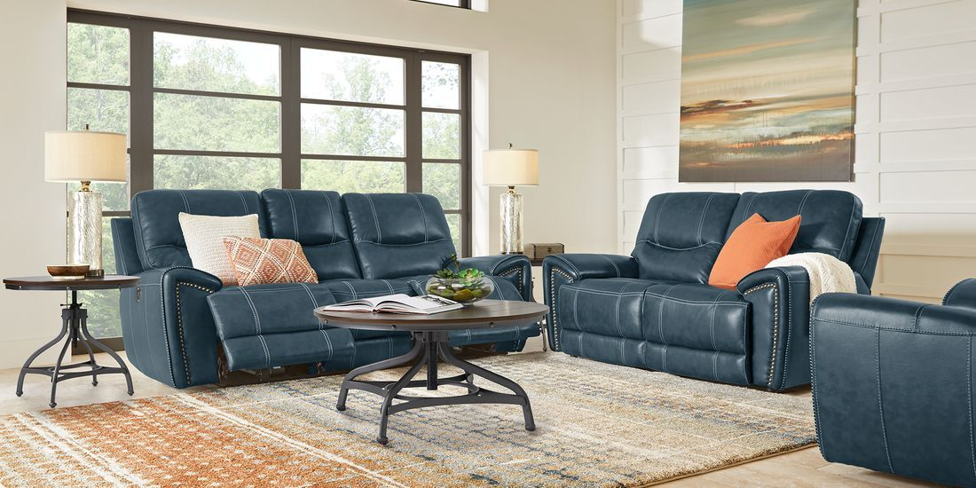 Italo Blue Leather 5 Pc Living Room With Reclining Sofa Reclining Sofa Living Room Sets Living Room Leather