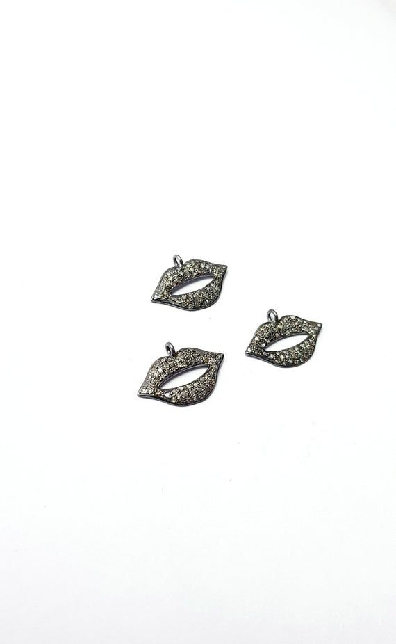 Beautiful Rosecut pave diamond pendant 925 sterling silver handmade finish lips shaped  diamond pendant charms #lipsshape