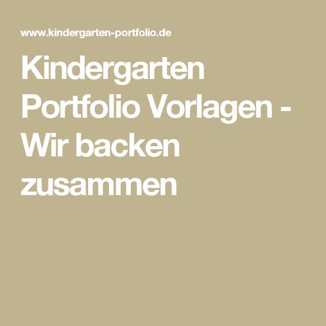 Kindergarten Portfolio Vorlagen - Wir backen zusammen | Vorlagen für ...
